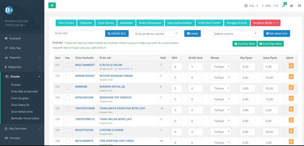 Hızlı satış programı ekran görüntüsü